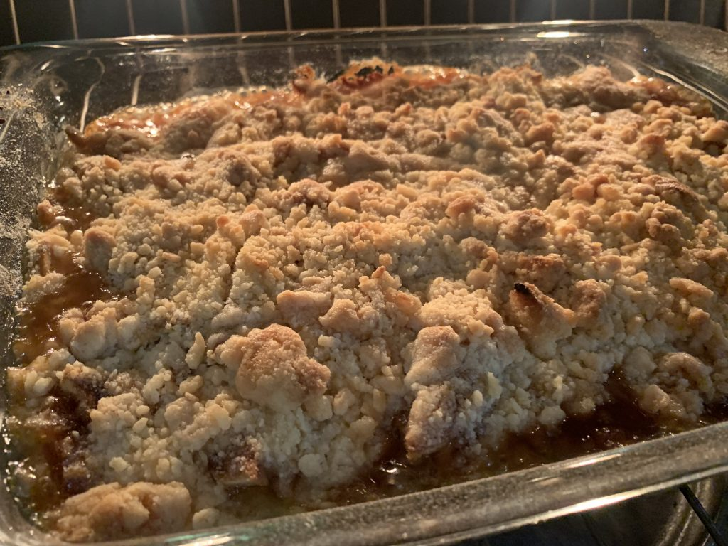 apple crisp being baked