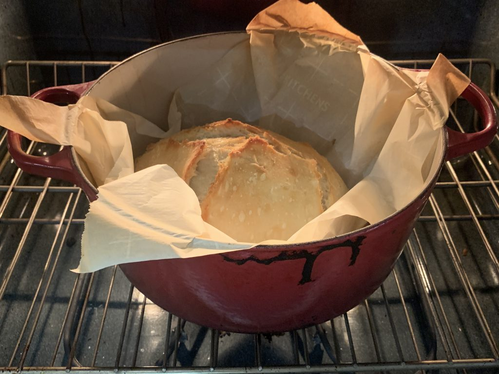 no knead artisan bread cooking in the oven
