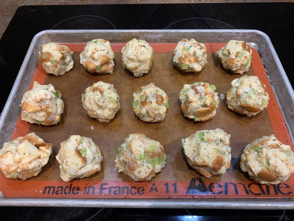 Thanksgiving stuffing balls right before going into the oven.