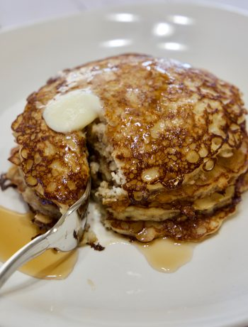 Oatmeal Pancakes with Syrup on top