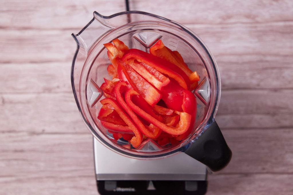 Red Peppers in blender ready to puree.  Red Pepper Jelly.