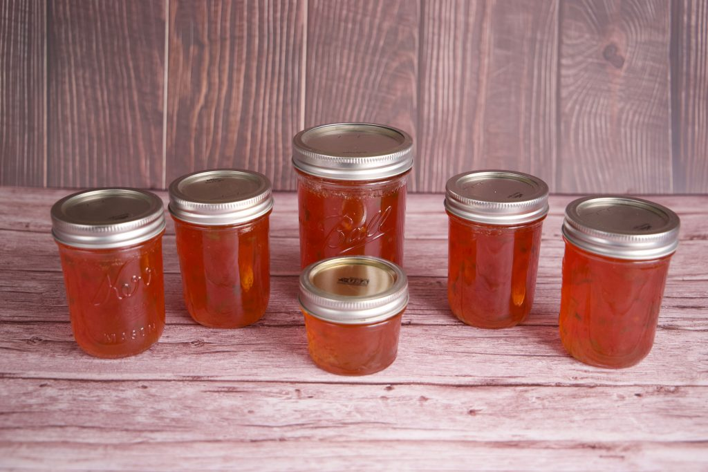 Red Pepper Jelly canned.