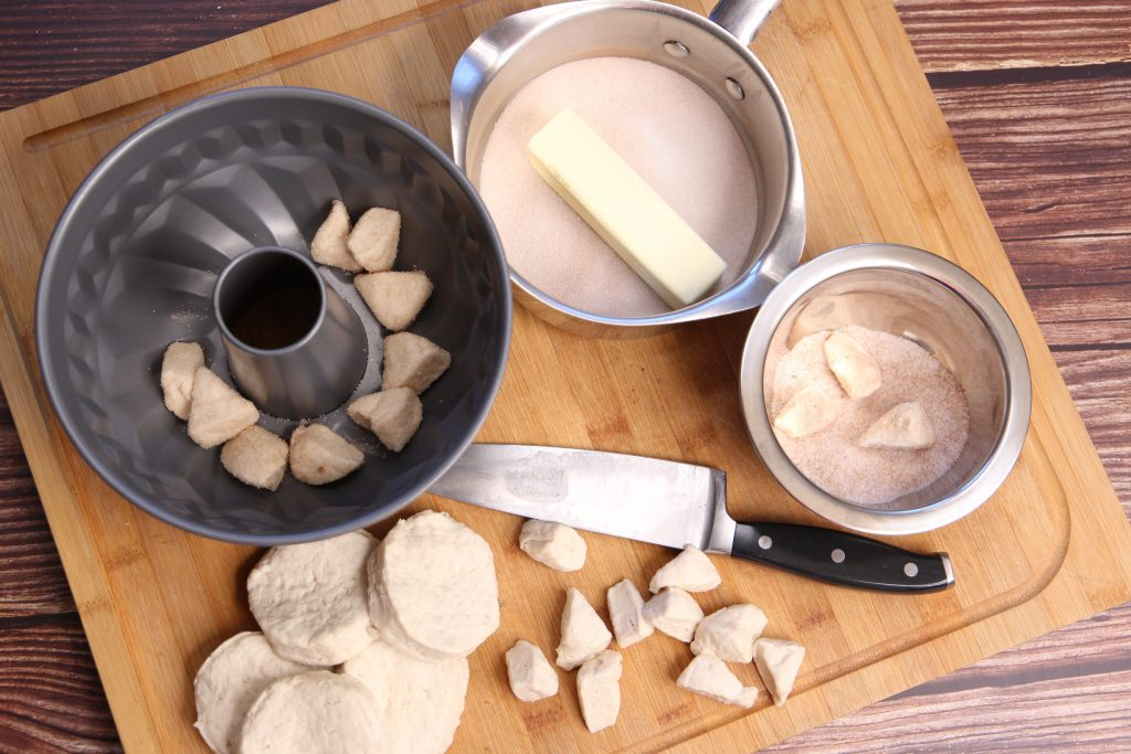 ingredients all ready to make monkey bread