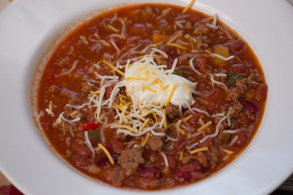 serving chili with all the best toppings