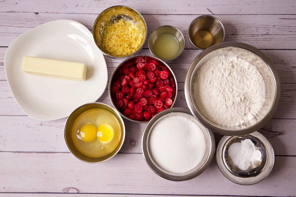ingredients for cranberry lemon pound cake