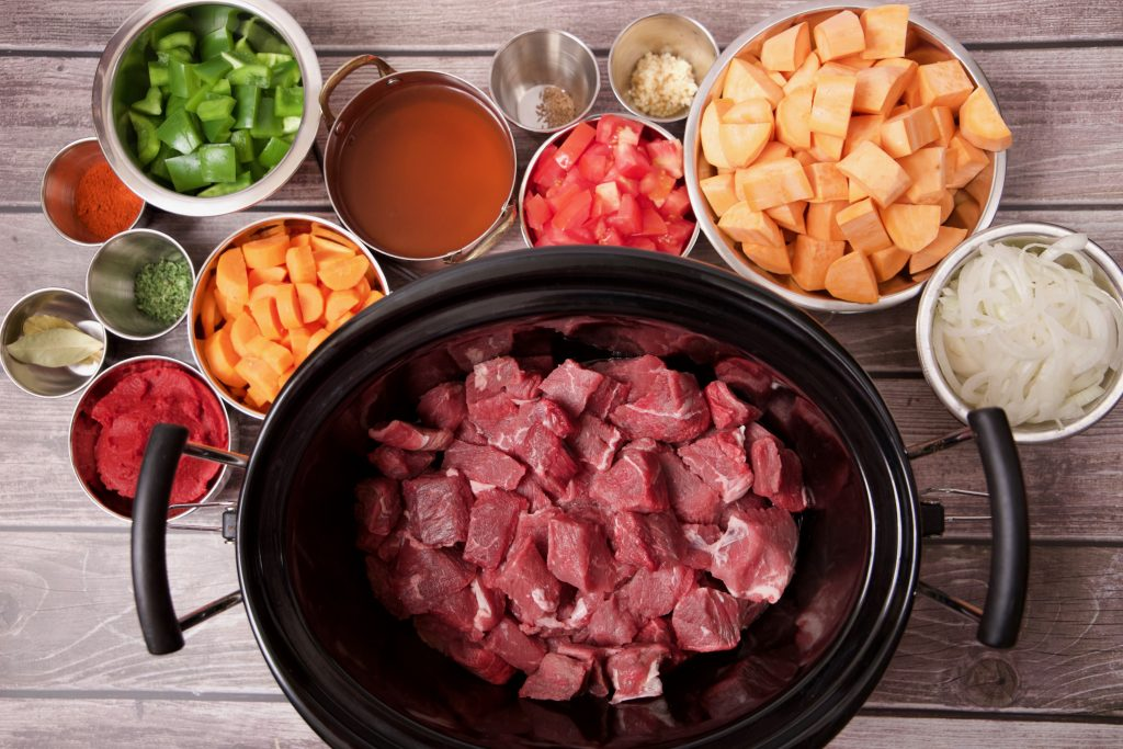 ingredients for beef and sweet potato goulash