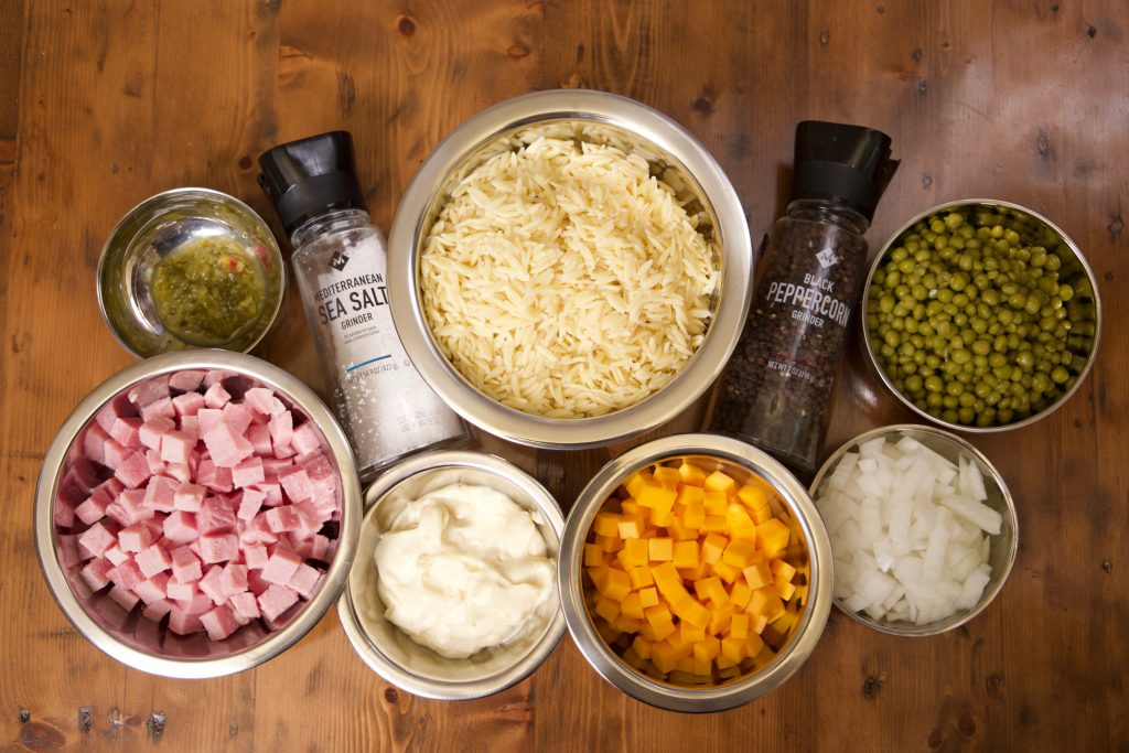 ingredients for ham and orzo cold salad