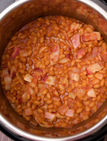 southern bbq beans cooked and ready to eat
