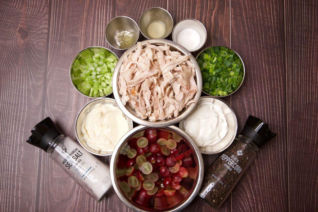 Ingredients for chicken salad