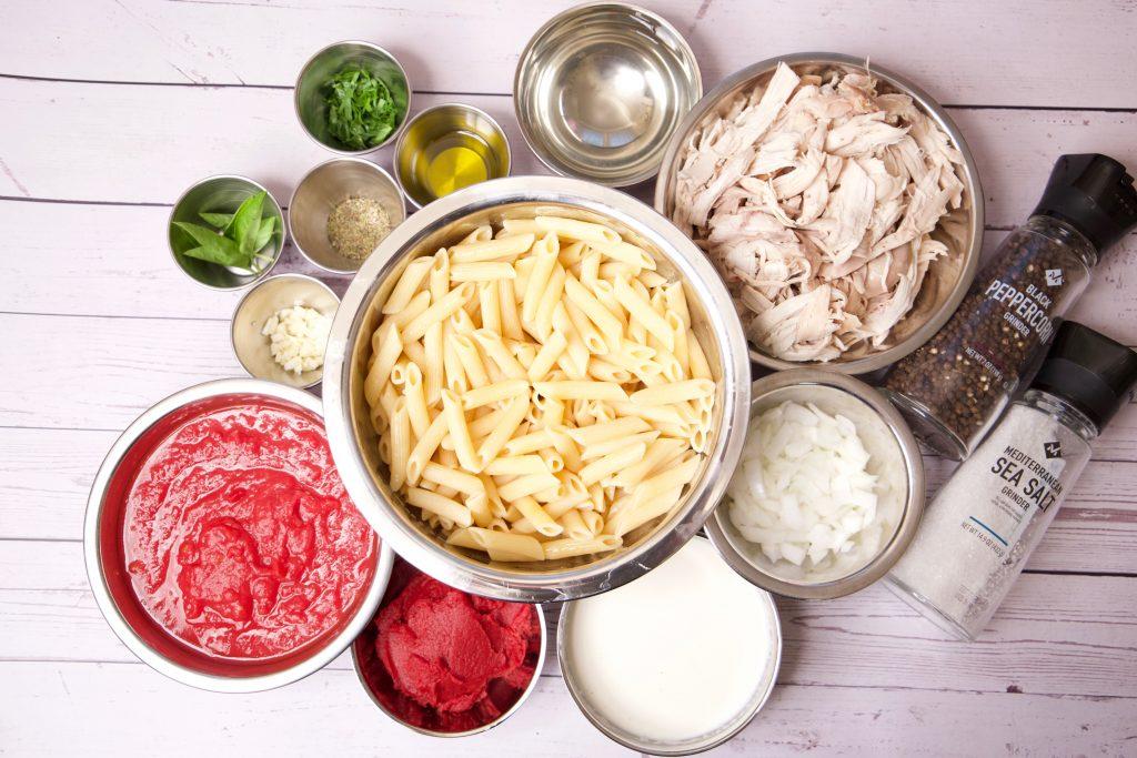 ingredients for creamy chicken pasta