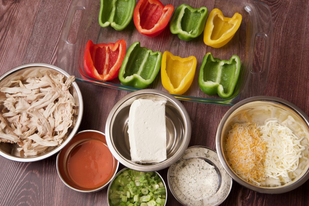 Ingredients for buffalo chicken stuffed peppers