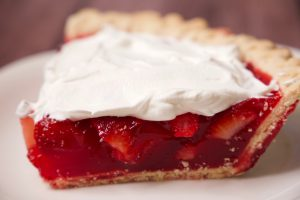 side view of strawberry pie