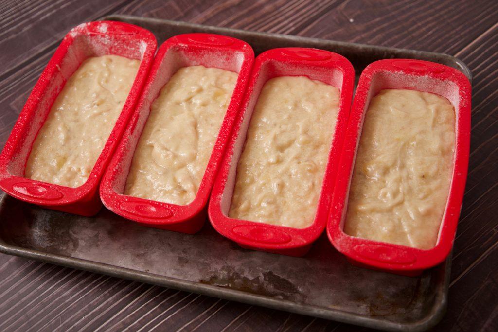 Air fryer banana bread ready for the air fryer