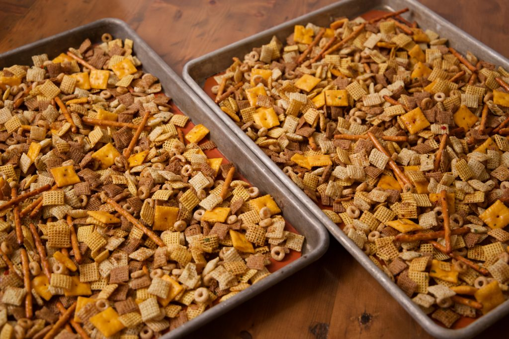spicy chex mix ready for baking