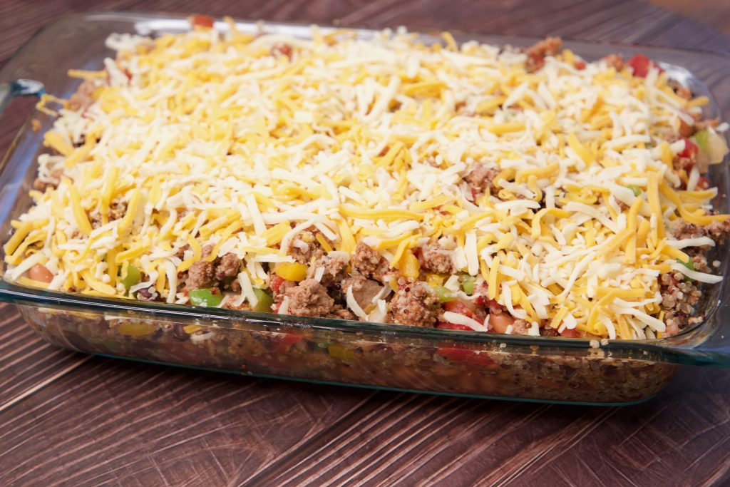 Mexican casserole ready for the oven