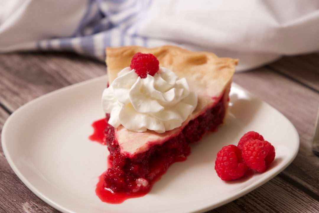 amish raspberry pie ready to be served